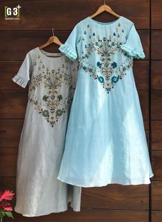 Silk Tunics with embroideries on yoke. Silk Kurti Designs, Tunic Designs, Dress Neck Designs, Stylish Dress Designs, Kurta Designs Women, Kurti Designs Party Wear, Stylish Dresses, Embroidery Suits Design, Embroidery Fashion
