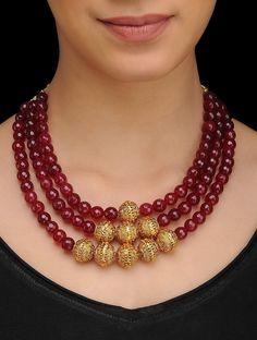 Buy Red Gold Tone Quartz Necklace Silver copper alloy Fashion Jewelry Necklaces/Pendants Online at Jaypore.com