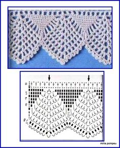 Easiest Crochet Frills Border Ever! Crochet Edging Patterns, Crochet Lace Edging, Crochet Borders, Crochet Diagram, Crochet Chart, Thread Crochet, Crochet Trim, Filet Crochet, Crochet Doilies