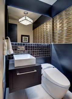 Semi Flush Ceiling Lights Powder Room Contemporary with Above Counter Sink Bar Pull Black Oak Black Oak Cabinet Black Tile