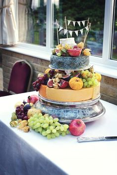 Marks and Spencer Cheese wedding cake photographed by Sarah Ann Wright http://www.sarahannwright.com/