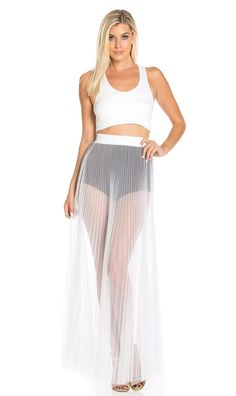 Pleated High Waisted Sheer Maxi Skirt in White
