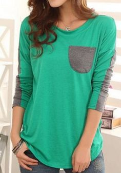 Green Plain Patchwork Pockets Dolman Sleeve T-Shirt