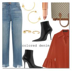 """""""Spring Trend: Colored Denim"""" by danielle-487 ❤ liked on Polyvore featuring CO, J Brand, Gucci, Balenciaga, Maria Black and coloredjeans"""