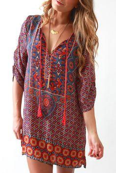 Want to earn Stitch Fix credit? Boho Fashion, Fashion Dresses, Fashion Looks, Fashion Wear, Hippie Style, Fashion For Petite Women, Casual Dresses, Summer Dresses, Silk Tunic