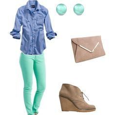 Mint jeans outfit...don't really like the shoes, but the rest is cute!