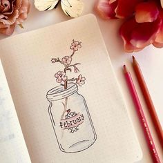 Bullet journal February monthly theme - cherry blossom theme - mason jar journal cover page Bullet Journal Inspo, Bullet Journal Calendar, August Bullet Journal Cover, Bullet Journal Spreads, Bullet Journal Cover Ideas, Bullet Journal 2020, Bullet Journal Aesthetic, Bullet Journal Notebook, Bullet Journal Layout