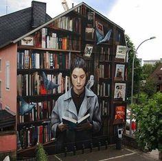 Imagem de books, graffiti, and street art 3d Street Art, Murals Street Art, Grafitti Street, Best Street Art, Amazing Street Art, Art Mural, Street Artists, Banksy, Urbane Kunst