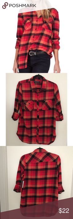 Volcom Women's Desert High Scarlet Plaid Flannel The desert high elevates the look of a classic plaid flannel shirt with hyper colors and a relaxed fit. 100% Cotton. Sleeves can be worn down or rolled up. Thank you for looking. Volcom Tops Button Down Shirts