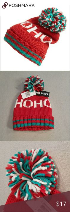NWT Steve Madden Red/White Ho Ho Pom Beanie Keep warm while looking so cool in Steve Madden's Varsity inspired cuff hat. Woven in cozy soft acrylic and topped with a multi colored pom. Red/White/Green. One Size fits all. Never Worn Steve Madden Accessories Hats