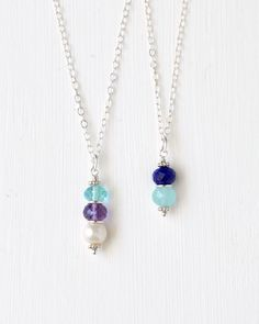 Sterling Silver Mothers Birthstone Pendant Necklace.  Personalized mothers birthstone jewelry by Blue Room Gems.
