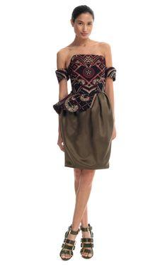 Prabal Gurung Asymmetrical Peplum Corset Dress