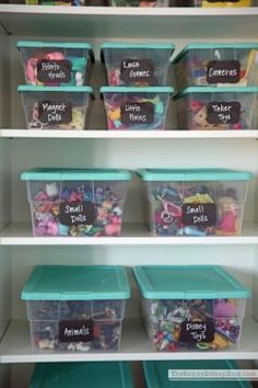 Playroom Organization ideas - label toy bins with chalkboard sticker so they can always be updated.Organization ideas - label toy bins with chalkboard sticker so they can always be updated. Chalkboard Stickers, Chalkboard Labels, Chalk Labels, Kids Room Organization, Organizing Toys, Playroom Ideas, Small Playroom, Organising, Barbie Storage