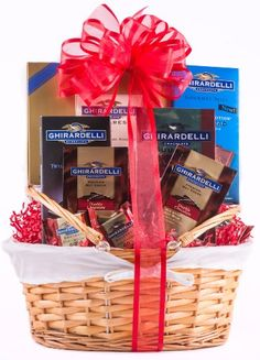 Grand Ghirardelli Chocolate Gift Basket This premium chocolate assortment is meant for true connoisseurs. The confections in this basket were crafted by the Ghirardelli Chocolate, Chocolate Gifts, Chocolate Candies, Gourmet Gifts, Gourmet Recipes, Chocolate Basket, Caramel Bars, Christmas Gift Baskets, Get Well Gifts