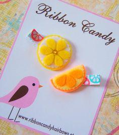 Citrus Felt Hair Clip Set - Lemon and Orange -  Fun Summer Hair Clips - Tropical - non slip. $5.95, via Etsy.
