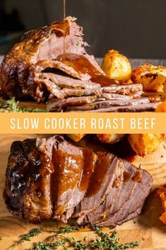Slow Cooker Roast Beef Roast dinner is a dish that the British do better than anyone else on the planet. This Slow Cooker Roast Beef can't be beaten for convenience or taste! Slow Cook Roast, Cooking Roast Beef, Slow Cooked Beef, Roast Beef Recipes, Slow Cooker Recipes, Cooking Recipes, Best Roast Beef Recipe Slow Cooker, Crockpot Meals, Slow Cooker Pot Roast