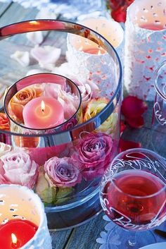 Candles and wine for a romantic evening