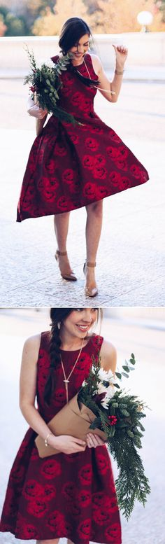 Pretty peonies and sassy, feminine waterfall dress make this dress a fanciful yet easy go-to. Peonies Glam Embossed Jacquard Waterfall Dress in Red (Item Number:D20161021015) featured by prettyinthepines Blog