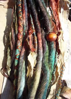Tie-Dye Multi Color Dark Wool Dreads with X-Cross Wrap & Beads Bohemian Hippie Dreadlocks Tribal Falls Synthetic Boho Extensions Coachella. $70.00, via Etsy.