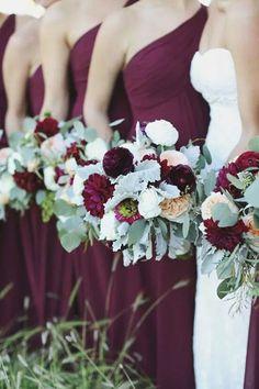 Dark plum brides maids dresses
