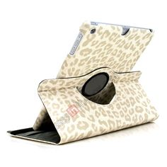 360 Rotary Leopard Skin Pattern Leather Case For iPad Air - White US$16.99