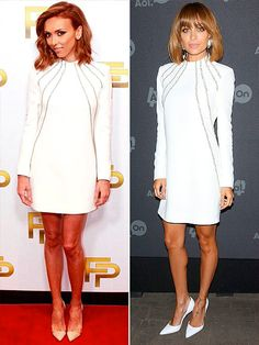 Fashion Faceoff | GIULIANA VS. NICOLE  | The stars basically give this white Saint Laurent mini the same treatment (spray-tanned legs, light-colored shoes), which leaves us wondering if Giuliana should consider getting bangs.
