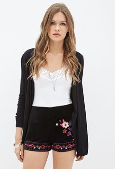 Embroidered Faux Suede Shorts   Forever 21 Contemporary - 2055879544