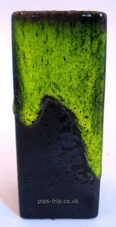 1960s Fohr Keramik (West Germany) Brown and Green Lava Glazed Vase with Original Label