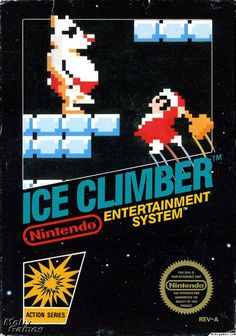The box cover for Ice Climber, a platform game released for the Nintendo Entertainment System in 1985