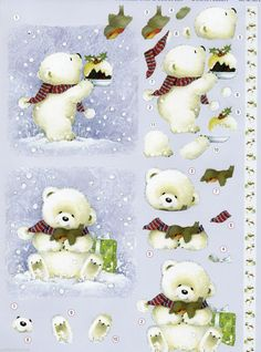"3D Die Cut Christmas Decoupage ""CUTE BEARS"" (Art-Nr 83722) in Crafts, Cardmaking & Scrapbooking, Decoupage 