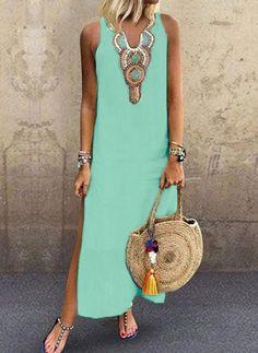 Geometric Camisole Neckline Sleeveless Maxi Shift Dress - Green / S Shift Dresses, Maxi Dresses, Bridesmaid Dresses, Maxis, Womens Fashion Online, Latest Fashion For Women, Simple Dresses, Casual Dresses For Women, Long Tunic Dress