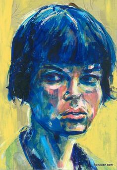 """""""Blue Bangs"""" by Jeff Wrench. First in a series of portraits using acrylic on an 11x17 inch wallpaper sheet. #art #portrait #painting #painter #artist #acrylic #wallpaper"""