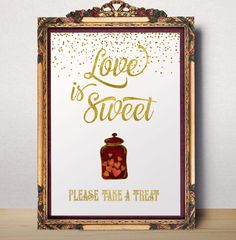Love is Sweet printable dessert table Love is Sweet by AlniPrints #wedding #fall #invitation #gold #white #Purple # pumpkin #invite
