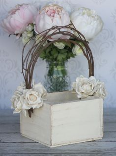 Flower Girl Basket Shabby Chic Wedding Decor (P10377). $39.99, via Etsy.