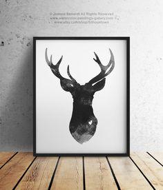 Deer Head Painting Gray Animal Illustration Home Decor Love Deer Wall Art Print