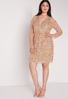 Missguided - Plus Size Premium Embellished Dress Gold