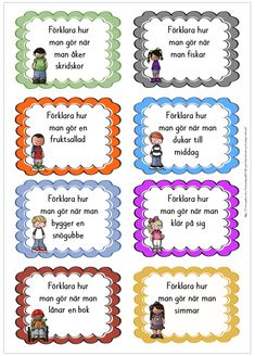 Explain how - 16 cards to use as speech / writing exercises (on one of the cards. Explain how - 16 cards to use as speech / writing exercises (on one of the cards you can decide what to explain) Speech Language Pathology, Speech And Language, Preschool Library, Learn Swedish, Swedish Language, Drama Teacher, Writing Exercises, Free Teaching Resources, 1 An