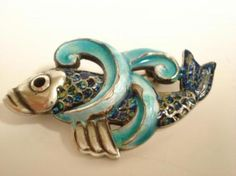 MARGOT de TAXCO Sterling Confetti Enamel FISH Brooch PIN