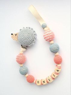 Dummy holder  personalized pacifier clip with hedgehog. MADE