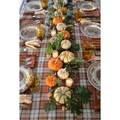 A Thanksgiving Table with Turkey Plates, Plaid and Pumpkin-Oak Leaf... ❤ liked on Polyvore featuring home, kitchen & dining, table linens, thanksgiving table linens, turkish runner and plaid table linens