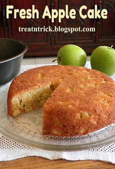 Apple Fritter Cake with a sweet powdered sugar glaze is a simple loaf cake that will remind you of your favorite apple fritter. This easy cake has layers of moist vanilla cake, tart apples with lots of cinnamon and sugar. Healthy Apple Desserts, Apple Recipes Easy, Apple Cake Recipes, Sweet Recipes, Baking Recipes, Eggless Apple Cake Recipe, Apple Cakes, Recipe Recipe, Fresh Apple Cake