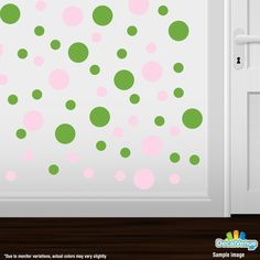 Baby Pink / Lime Green Polka Dot Circles Wall Decals #decalvenue #decals #stickers
