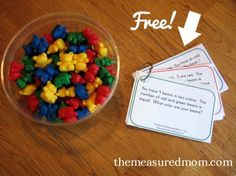 free problem solving cards for counting bears 590x442 Fun problem solving activity for kids in 1st & 2nd grade