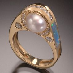 RANDY POLK DESIGNS Freshwater Pearl ring with Australian opal inlay  and diamonds