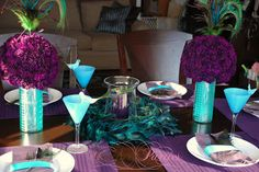 A few weeks ago I shared an Inspiration Board for a Peacock Birthday Dinner Party for my Mom, (and a little bit about the choice for using peacock feathers) Well here are some pictures from the dinner party! Peacock Theme, Peacock Wedding, Purple Wedding, Peacock Birthday Party, Birthday Parties, Zebra Birthday, 75th Birthday, Birthday Ideas, Our Wedding