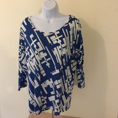 Pretty Geometric Top Here I have beautiful quarter sleeve top. It is blue and white and perfect with a long skirt or jeans! Too has only been worn a few times so it's in perfect condition!! Smoke free home! No PP. No trades. Any questions please ask  Style & Co Tops Blouses