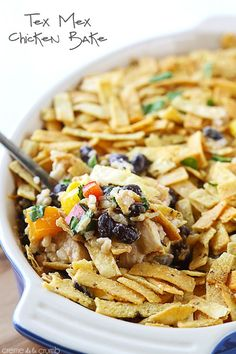 Chicken and black bean tortilla casserole.  This recipe is my favorite! Easy to make, too!
