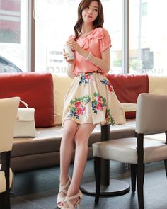 floral A-line skirt - yesstyle