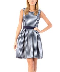 Navy Zigzag Fit & Flare Dress #zulily #zulilyfinds