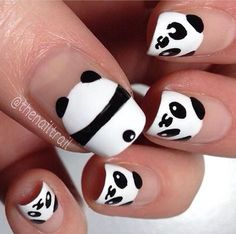 Image via Panda nail art designs Image via How to Create Cute Panda Nail Art Image via Panda nails! Image via Nail Art Water Decals Transfers Sticker Lovely Panda Bamboo Panda Nail Art, Animal Nail Art, Kawaii Nail Art, Panda Bear Nails, Penguin Nail Art, Nail Art Diy, Diy Nails, Cute Nails, Nail Art For Kids